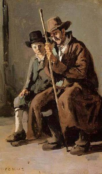 Two Italians an Old Man and a Young Boy 1843